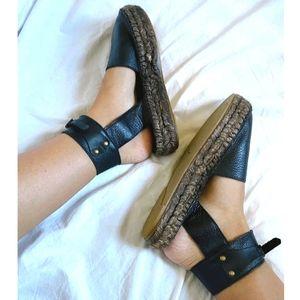 Free People BLACK leather Espadrille sandals